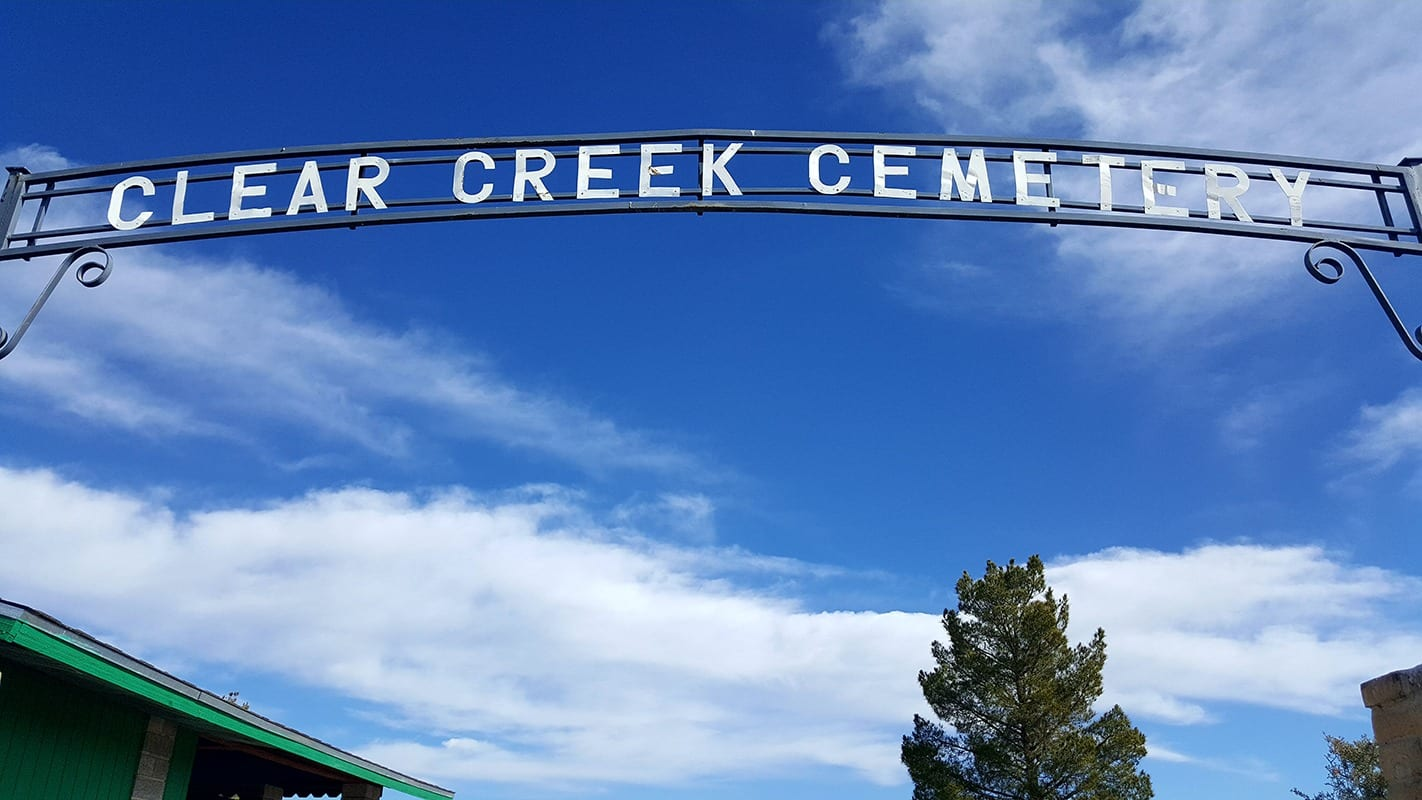 Clear Creek Cemetery sign